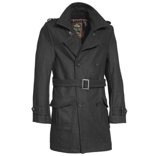 Surplus Long Classic Crown Coat Mens Jacket with Belt Black