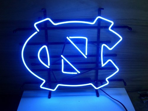 New North Carolina Tarheels Real Glass Neon Light Beer Pub Sign at Amazon.com