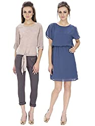 Lilium Combo Pack Of SameeraCowl Back Dress In Ensign Blue Color With Tanya Knot Front Blouse In Old Rose & Grey Color