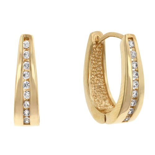 Clear Channel Set 14k Gold Plate Cubic Zirconia CZ Hoop Earrings