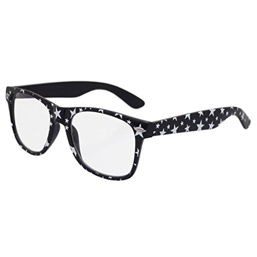 BIRCH's Stars Fun Party Parade Wayfarer Style Clear Lens Novelty Fashion Glasses