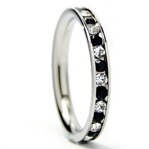 3MM Stainless Steel Eternity Ring with Black & White Cubic Zirconia Crystals Size 4
