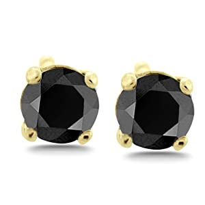 1/2 ct tw Natural Black Natural Round Diamond Studs 14K Gold Screw Back