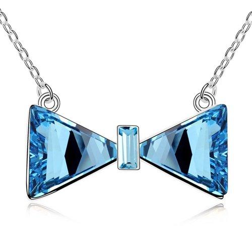 Mqueen Aquamarine Bowknot Pendant Necklace front-161425
