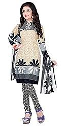 Craftliva Cream & Black Printed Crepe Dress Material
