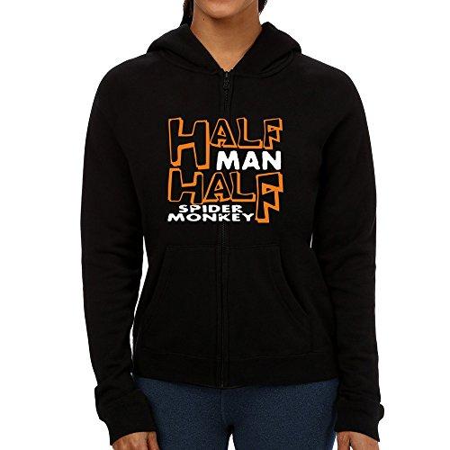 Idakoos - HALF MAN, HALF Spider Monkey - Animals - Women Zip Hoodie