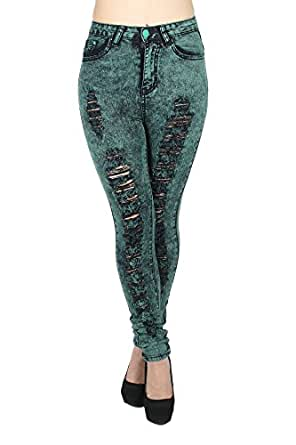 XH9002W - High Waist Color Acid Wash Skinny Distressed Ripped Destroyed Jeans in Green Size 1