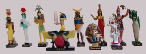 "Ancient Egypt Egyptian God set of 11 magazines with figurines resin statue size 5"" high (Isis-Sothis, Khonsou, Hapy, Chai, Khnoum, Isis, Rechef, Heket, Uraeus, Tutenchamon, Herichef) [Amercom EG-7]"