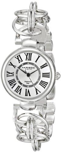 Akribos XXIV Women's Lady Diamond Swiss Quartz Silver-tone Chain Link Bracelet Watch