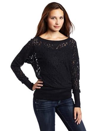 D.E.P.T. Women's Tough Lace Knit Pullover Sweater, Blue Night, Large
