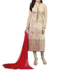 Paridhan Women's Georgette Unstitched Suit (SRPR 3571_Beige_Free Size)