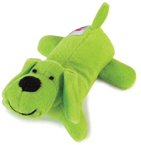 Zanies Plush Neon Lil Yelpers Dog Toy, Glowing Green