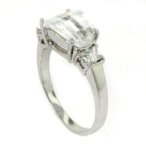 Classic Sterling Silver Promise Ring w/Oval & Radiant White CZs, 5