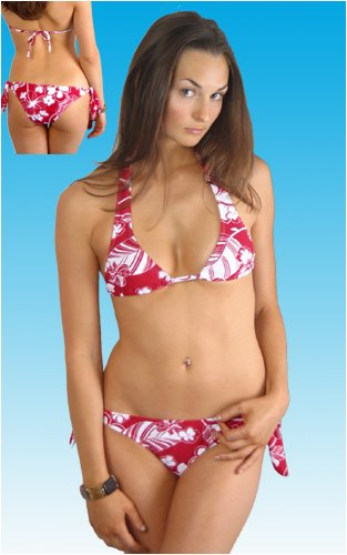 Sexy Bikini Halter Top Hipster Tie Bikini (Red Print)