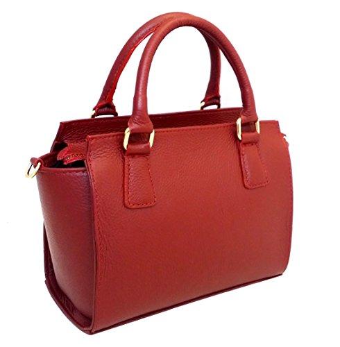 DEEP ROSE Borsa in Vera Pelle Donna Made in Italy a spalla mano shopper pelle con tracolla regolabile MICHELLE