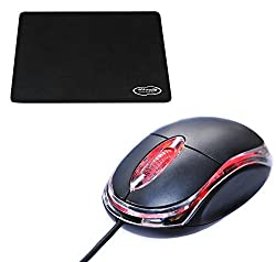 "Storiteâ""¢ Combo of 3mm Thickness Speed Rubber Mouse Pad Black & Allen 3-Button 3D USB 800 Dpi Wired Optical Scroll Mice Mouse"