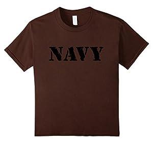 Kids US Navy Shirt, Vintage Logo, Military T-Shirt 12 Brown