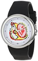 """PeaceLove Unisex F36S-PL-B  Round Stainless Steel Black Silicone Strap and """"Miripolsky"""" Art Dial Watch"""