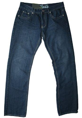 Industrie men's straight leg dark wash crinkle jean, 30W 32L