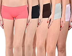 Mynte Women's Sports Shorts (MEWIWCMBP-SHR-102-100-99-98-97, Pink, Black, Brown, Grey, Baby Pink, Free Size, Pack of 5)