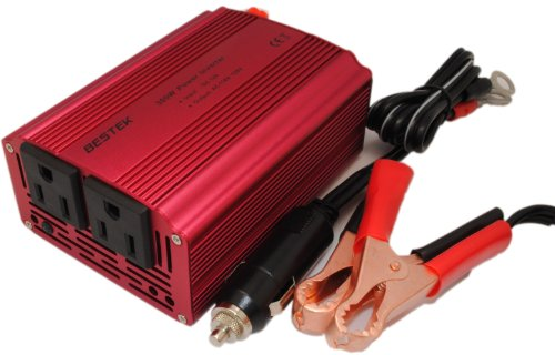 Bestek 300W Power Inverter Car Dc12V To 110V Ac Power Supply With Dual Ac 110V Ac Outlets And With Cigarette Lighter Cable And Clip Cable 300J2
