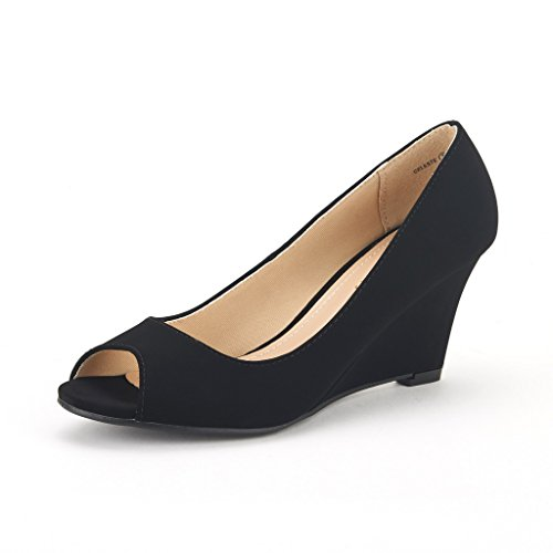 DREAM PAIRS CELESTE Women's Elegant Classy Open Toe Mid Heel Wedge Platform Pumps Slip On Shoes New BLACK-NUBUCK SIZE 10