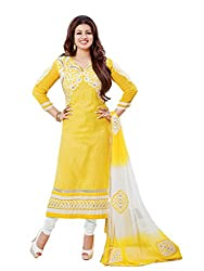 Sonal Trendz Women's Cotton Dress Material (STADO101490_Yellow)