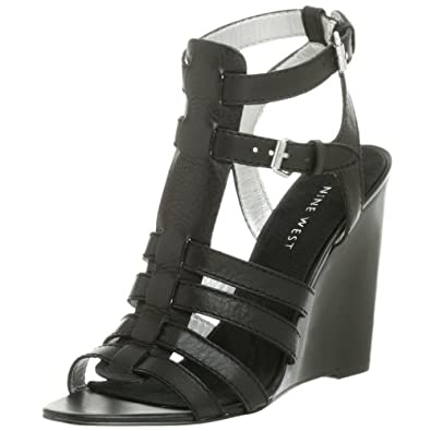 Nine West Women's Heech Sandal,Black Leather,12 M US
