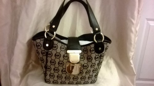 "New Michael Kors Signature ""Charlton"" Md Tote Bag ""Beige/Black"" Monogram Jacquard"