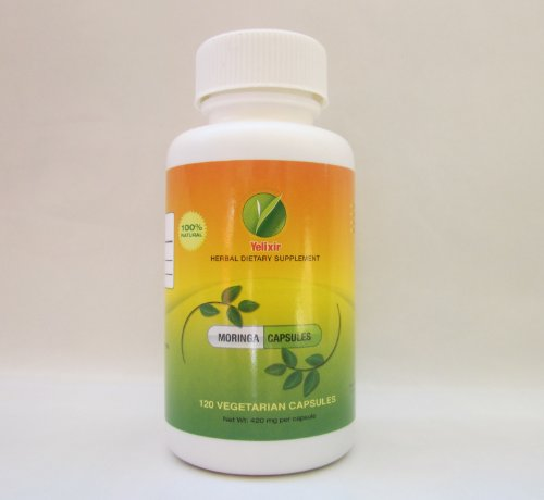 Moringa / Malungayy - 120 Veg Capsule Each 410 Mg (100 % Natural with Rich Source of Vitamins, Minerals, Anti Oxidants , Amino Acids, Fiber, Calcium, Iron, Potassium... Helps to Reduce Blood Glucose Level, Good for Sexual Health, Breast Feeding Mom's)
