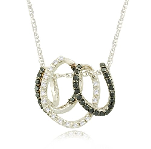 Sterling Silver Coil Black and White Diamond Pendant Necklace (1/5 cttw, I-J Color, I2-I3 Clarity), 18