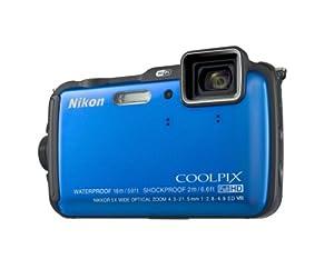 """Nikon Coolpix AW120 Appareil photo numérique compact 16 Mpix Écran LCD 3"""" Zoom optique 5X Bleu"""