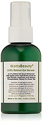 Watts Beauty 2.5% Retinol Gel Serum Enhanced with 50% Hyaluronic Acid, Vitamin E, Phospholipids & Green Tea - Formulated for Aging Skin, Uneven Skin Tones, Fine Lines, Wrinkles, Blemishes, Large Pores, Dull Skin, Sun Damaged Skin, Age Spots & More - Made