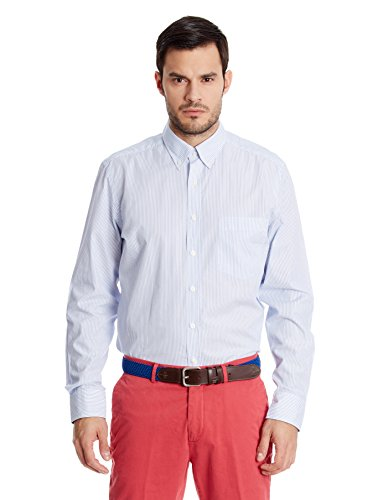 Hackett London - Fine Stripe Multi Trim, Camicia da uomo, Multicolore(blanc / bleu), L