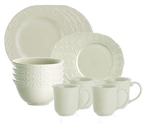 Paula Deen Signature Dinnerware Whitaker 16-Piece Dinnerware Set, Vanilla