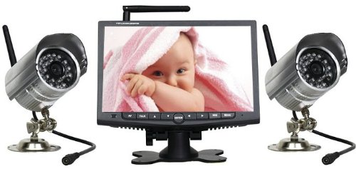 w80 digital funk dvr 2x kamera mit 7 monitor berwachungskamera bewegungsmelder aufnahme auf sd. Black Bedroom Furniture Sets. Home Design Ideas