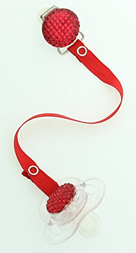 Red Quilted Crystal Pacifier with Red Solid Ribbon Clip (GSQRSR-S-6M)