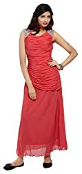 Carrel Imported Power Net Fabric Light Red Colour Free Size Women Embroiodered Maxi Dress