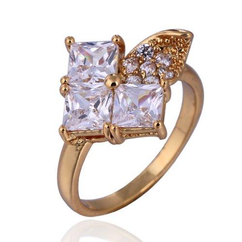 C-Princessリング 指輪18Kゴールドメッキ コーティン ラインストーン レディース 女性 アクセサリー ジュエリー ウェディング エンゲージリング 派手 華やか (18)