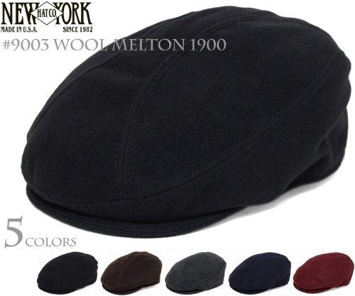 ニューヨークハット(NEW YORK HAT) ハンチング #9003 WOOL MELTON 1900(ウールメルトン1900)-Black-S/M