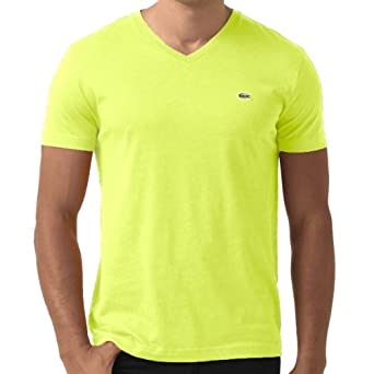 Lacoste Men's Iconic V-Neck Pima Cotton Jersey T-shirt Fluo Yellow-Large