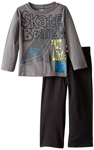 Gerber Graduates Little Boys' Long Sleeve Top and Black Pant Set, Skate Board, 4T