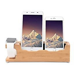 Apple Watch Stand, Ozgoe 3 in 1 [Charging Dock] Bamboo Charge Station/ Cradle for Apple Watch & iPhone, Fit All Smart phones & Mini Tablet PC.