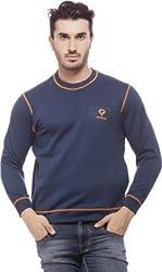 Gypsum Solid Mens Round Neck Sweat T-Shirt (Navy Blue)