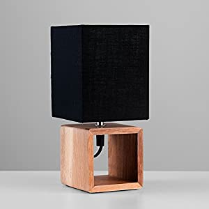 Modern Wooden Square Design Bedside Table Lamp with Black Fabric Shade by MiniSun