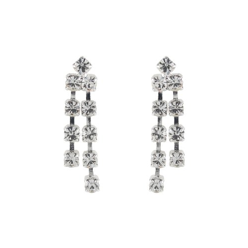 Round Crystal Double Drop Earrings