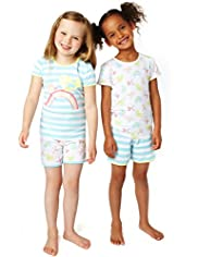 2 Pack Pure Cotton Bird Design Cosy Shortie Pyjamas
