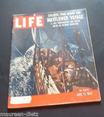 Life Magazine / June 17, 1957. Mayflower Voyage Recreation; Whooping Cranes; Diabetes; Dacron; Reigning Royalty of Europe; Joe Kittinger Balloon Flight; Bronze Ibex Sculpture; Ed & Keenan Wynn; Edward Nixon PDF