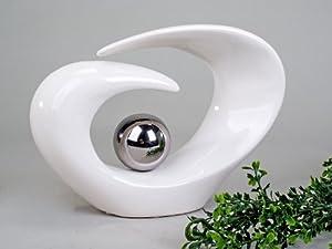 Wunderschöne Skulptur weiß silber aus Keramik Höhe 29 cm Formano