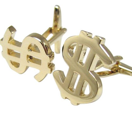 Worldfashion Creative Fortune Cufflinks of Gold US Dollors Currency Symbols Come In a Nice Gift Box by WorldFashion